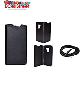 ECellStreet Executive Leather Flip Cover Diary Folio Flap Case For Lenovo Vibe K4 Note - Black + 3.5mm AUX Cable