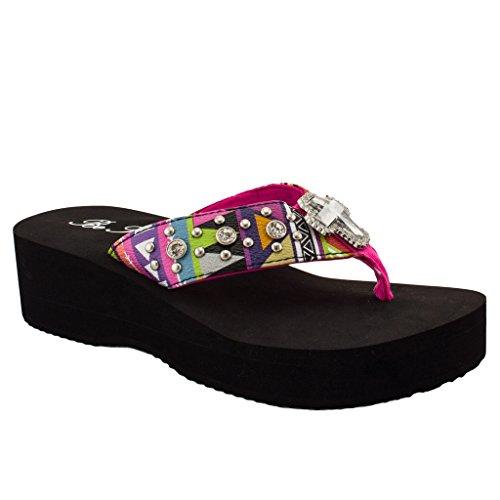Women Rhinestone Studded Concho Strap Thong Flip Flop Platform Sandals (Cross Hot Pink/Hot Pink) 07 US