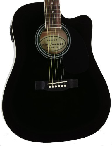 full size thinline black acoustic electric guitar with free gig bag case picks b003yvrgn6. Black Bedroom Furniture Sets. Home Design Ideas
