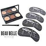 Beau Belle Eyebrow Kit - 4 Eyebrow Stencils - Eyebrow Kit With Stencils - Eyebrow Brush - Eyebrow Shaper - Eyebrow Stencil Kits - Eyebrow Stencils Shapers - Eyebrow Stencils and Powder Kits - Eyebrow Stencil Template - Eyebrow Set