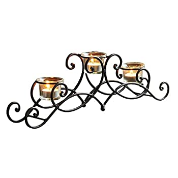 ELEGAN Black Iron Table Top Candle Holder, Holds 3 Tea lights