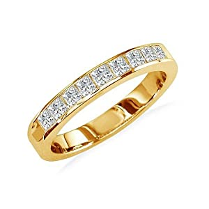 1/2ct Princess Diamond Anniversary Ring in 14K Yellow Gold, Available Ring Sizes 4-9, Ring Size 7