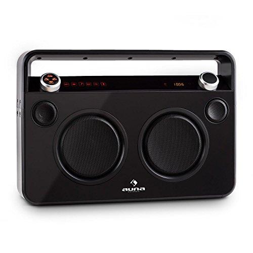 Auna Bebop Ghettoblaster Radio Portatile Stereo con BLUETOOTH (porta USB MP3, AUX, 2 x MIC IN funzione karaoke, Batteria integrata) Nera