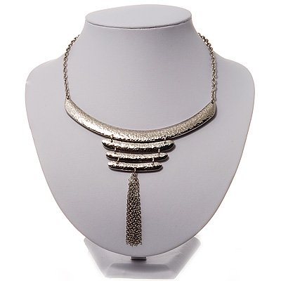 Silver Tone Hammered Bib Style Tassel Necklace - 38cm Length