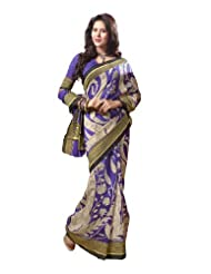 Indian Designer Wear Chappa Silk Violet Printed Saree