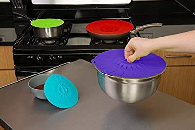 "Reusable Silicone Suction Lids - Set of 5 Microwave Food Covers 4"" 6"" 8"" 10"" 12"" - Fits Various Sizes of Pots, Cups, Mugs, Bowls, Pans, Plates, Dishes, Jars, Cans, Cookers or Containers"