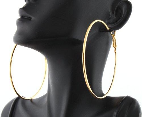 Ladies Poparazzi Gold 2.75 Inch Plain Hoop Earrings