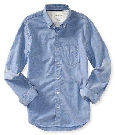 (エアロポステール)AEROPOSTALE 長袖シャツ Long Sleeve Colored Oxford Woven Shirt エクストリームブルー Extreme Blue 並行輸入品 (M)