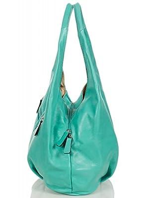 Hobo Bag - Sacs à bandoulière en cuir souple fabriqué en Italie avec fermeture à glissière sans bretelles (30 x 25 x 17 cm L x H x P)
