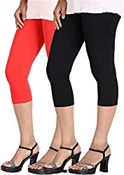 Rooliums Super Fine Cotton Lycra Capri Leggings Combo Pack of 2 (Red and Black) - FREE SIZE