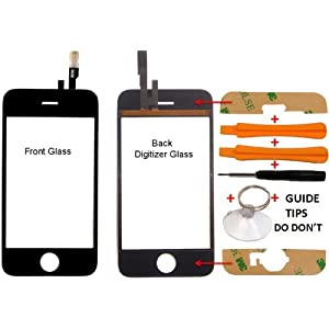 Replacement Apple Iphone 3gs Cracked Lcd Glass Digitizer Touch Surface Screen Cover Replacement Part + Tools + Guide ( Not for Iphone 3g )