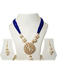 Jewellery Expert Blue-colour-Pearls Necklace Set For Women