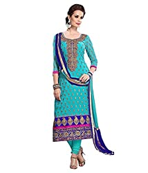 Aarsh Apparel Turquoise chanderi Cotton Embroidery Dress Material