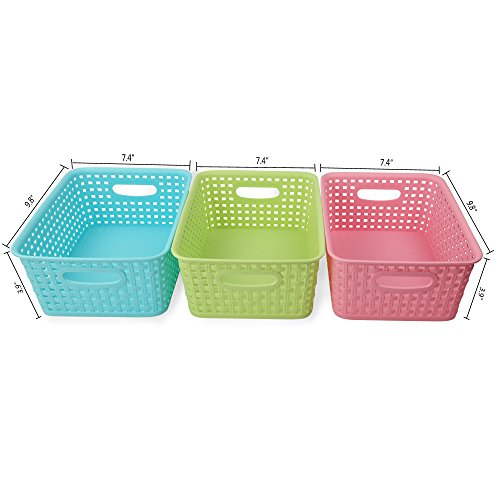 Nicesh Plastic Colored Storage Baskets Set Of 3 Home  sc 1 st  Listitdallas & Colorful Storage Baskets - Listitdallas