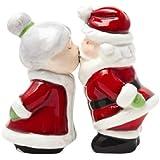 """Santa Kissing Mrs Claus"" Magnetic Salt & Pepper Shakers Set"