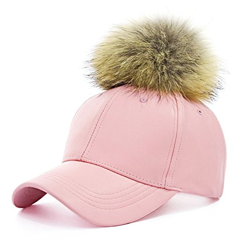 [Faux Leather Baseball Caps with Real Fur Pom Pom Outdoor Sports Hats Velcro Cap] (Pink Top Hats)