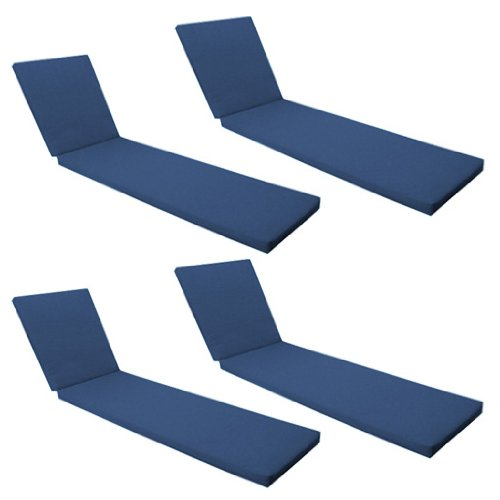 Outdoor Garden Sun Lounger Pad / Cushion 4 Pack in Blue, Comfortable and Lightweight. Great for Indoors and Outdoor Use, Made from High Quality Water Resistant Material.