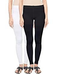 Fashion And Freedom Women's Pack Of 2 Black And White Cotton Seamless Legging