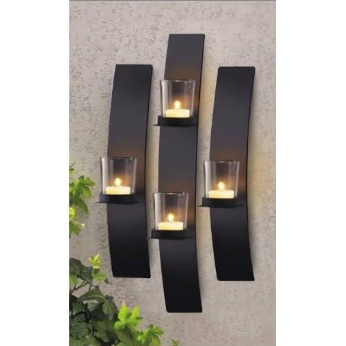 Wall Sconce Votive Candle Holder : Metal Modern Art Wall Mount Candle Votive Holder Sconce Set