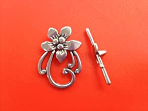5 Set Flower Toggle Clasps & Tbars Tibetan Silver Metal Jewelry Findings