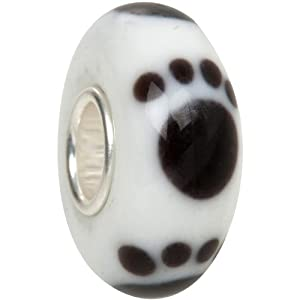 Cat Paw Print Animal Murano Glass Bead Solid Sterling Core fits European Charm Bracelet