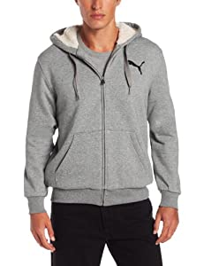 Puma Apparel Men's Sherpa Fullzip Hooded Jacket, Medium Gray Heather, X-Large
