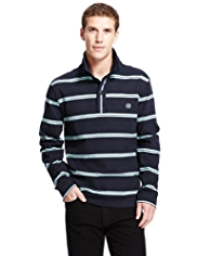 Blue Harbour Pure Cotton Double Striped Slub Rugby Shirt
