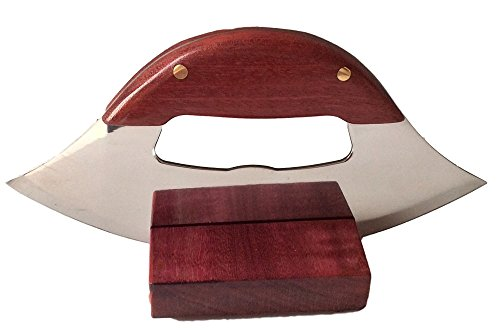 Arctic Handmade Purple Heart Wood Ulu Knife & Stand