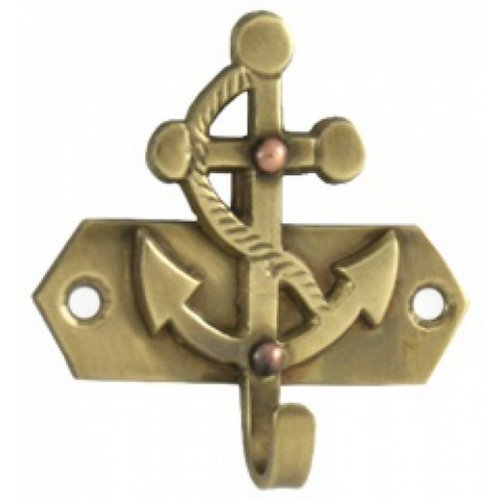 "Solid Brass Anchor Key Hook 3"" - Anchor Decoration - Brass Key Hook - Nautical Wall Hanging"