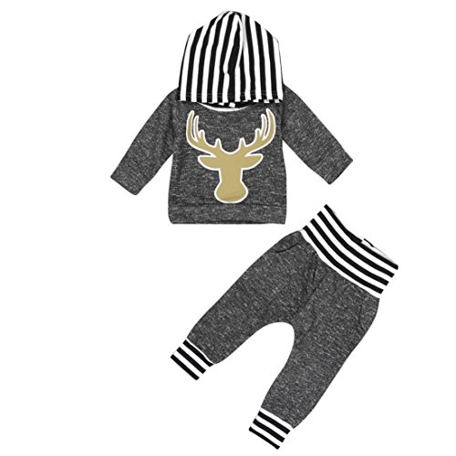 Culater® neonato ragazza ragazzo vestiti cervi migliori pantaloni leggings St- Decameron + set (80)