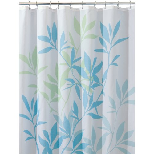 Interdesign Leaves 72 Inch By 72 Inch Shower Curtain Soft Blue Green