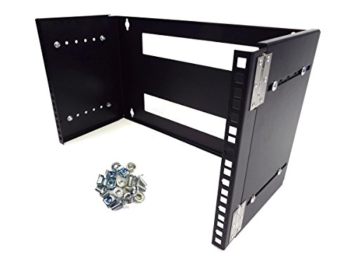 CNAweb 6U 19-Inch Hinged Extendable Wall Mount Bracket Network Equipment Rack - Black (Hinged Patch Panel Bracket compare prices)