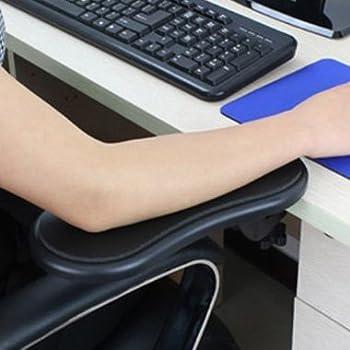 疲れ知らず パソコン デスク 用 アームサポート アームレスト 肘掛け カラー ブラック レッド イエロー (ブラック)