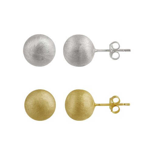 Sterling Silver and 18kt Gold Plated Silver 10mm Stud Post Earrings