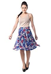 iamme Flaired Floral Print Knee Length Skirt