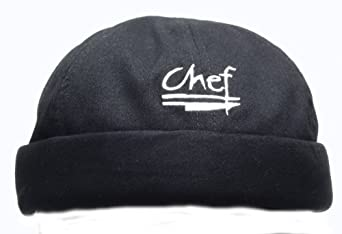 Chef Revival H060BK Cotton Chef Beanie with Elastic Head Band and Chef Logo, Black