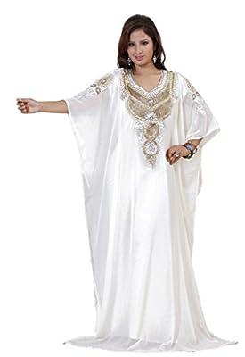 IndianAttire Women's Dubai Style Kaftan Farasha Abaya Jilbab Maxi Dress White