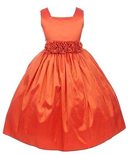Sweet Kids Girls Slvless Dress Rolled Flw Waistband 6 Orange (Sk 3047) [Apparel]