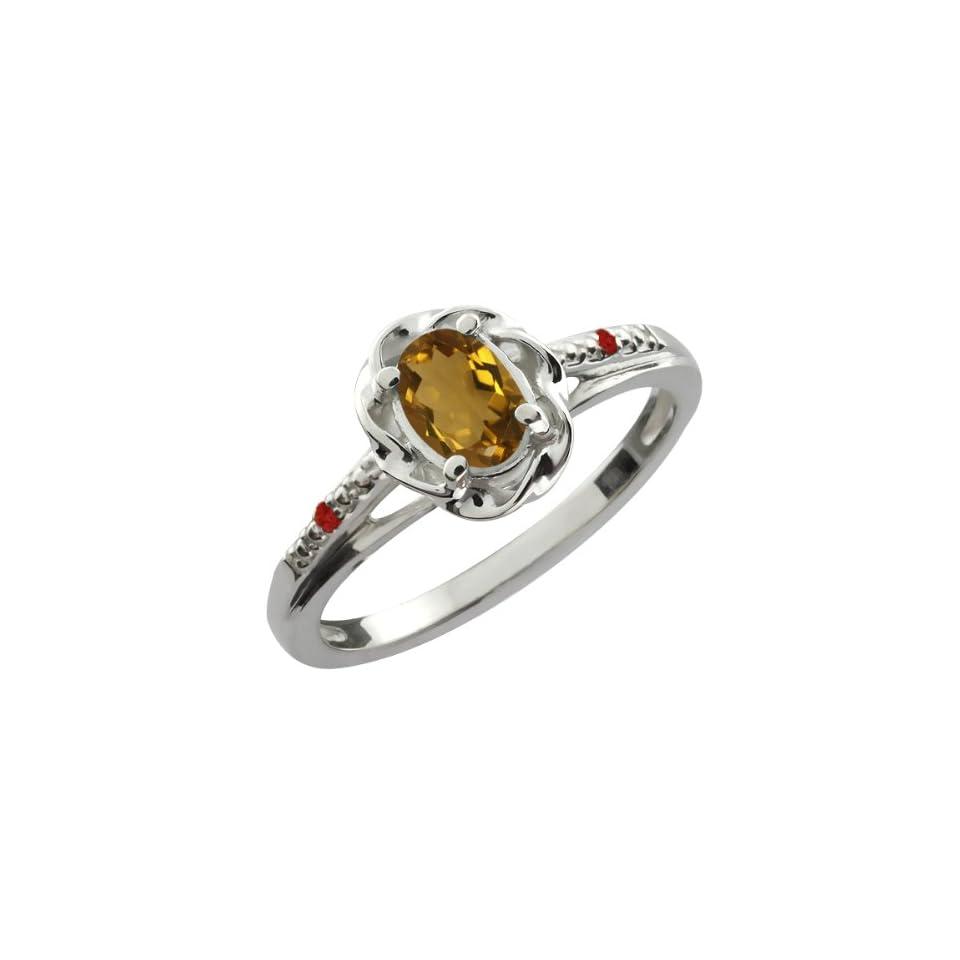 0.57 Ct Oval Whiskey Quartz Red Garnet 14K White Gold Ring