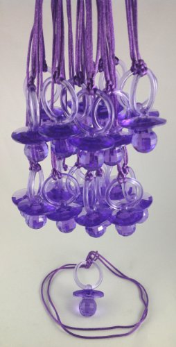 "12 Pcs 2-1/2"" Purple Fancy Plastic Pacifier Necklaces ""Don'T Say Baby!"" For Baby Shower Party Game/ Favors front-432695"