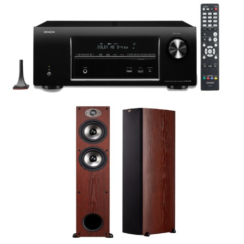 Denon Avr-E400 7.1 Channel 4K Home Theater Receiver With A Pair Of Polk Audio Tsx 330T Floorstanding Speakers In Cherry Color