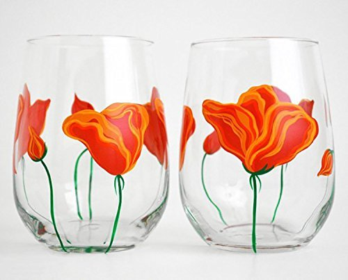 California Poppies Stemless Wine Glasses - Set of 2 Glasses