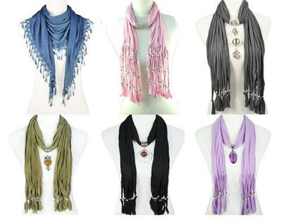 6 Styles/lot,mix Colors Jewelry Scarf Fashion Pendant Scarf ,10-18 Days Delivery From China By Usps