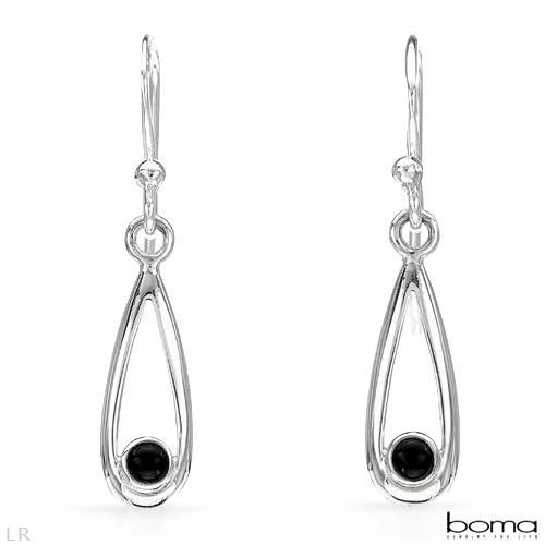 BOMA Wonderful Earrings With Genuine Onyxes in 925 Sterling silver Length 27mm