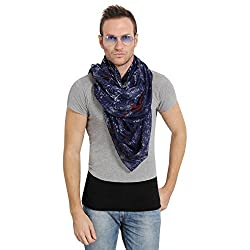 FabSeasons Blue Cotton Abstract Printed Scarf, Scarves, Stole and Shawl for Men & Women