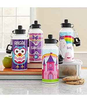 Fun Graphic Water Bottle - Girl Personalized Fun Graphic Water