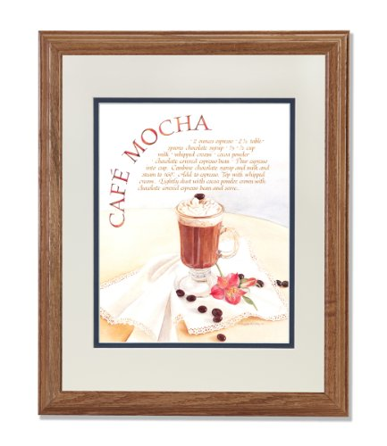 Cafe Mocha Recipe Coffee Kitchen Cafe Diner Wall Picture Antw/B Matted Oak Framed Art Print