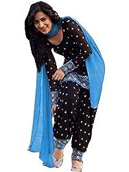 Isha Enterprise Women's Cotton Dress Material(KFV1073_Blue , Black)
