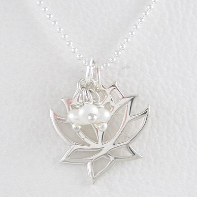 """Open Design Lotus Flower Pendant in Sterling Silver with Pearl Gemstone Beads on a 16"""" Bead Chain, #8356"""