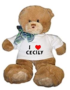 Plush Brown Teddy Bear (Dean) with I Love Cecily T-shirt (first name/surname/nickname)